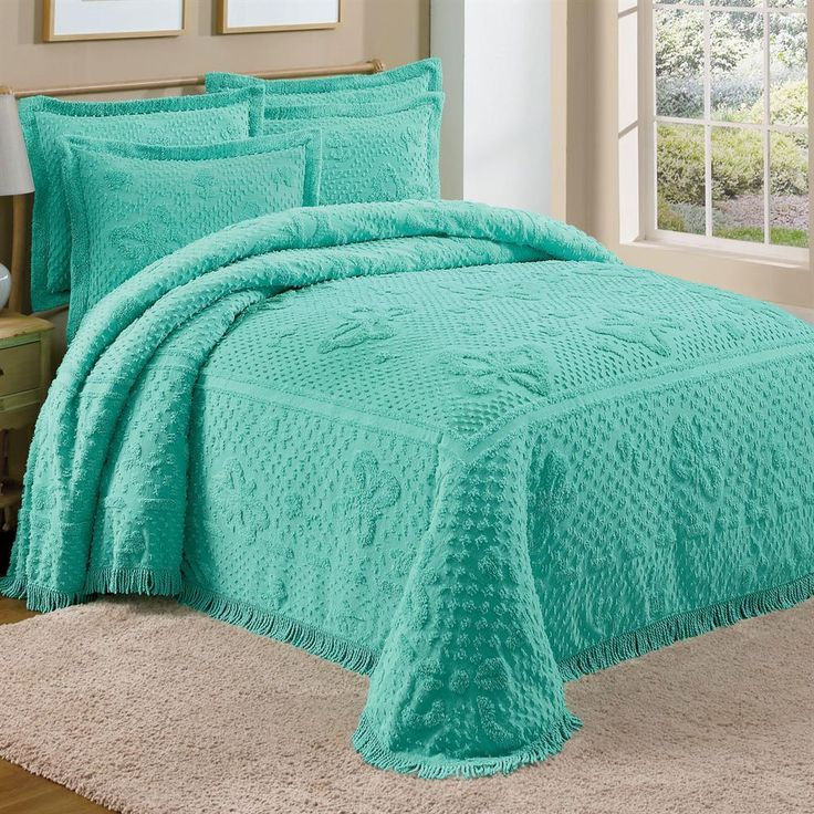 Teal Green Chenille Bedspread Shams Butterflies Twin Full