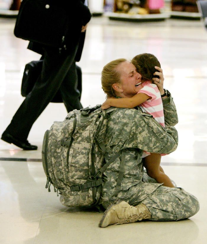 One of the most striking images I've ever seen: Terri Gurrola is reunited with her daughter after serving in Iraq for 7 months.