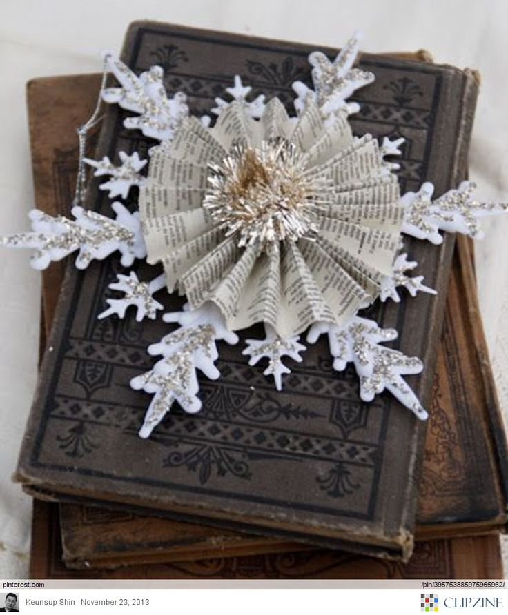 Diy Christmas Decorations Paper: Book Page - Paper Craft