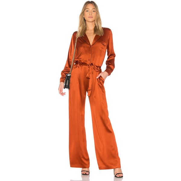 Alexis Gilda Jumpsuit ($605) ❤ liked on Polyvore featuring jumpsuits, rompers & jumpsuits, long-sleeve romper, alexis romper, playsuit jumpsuit, orange jumpsuit and jump suit