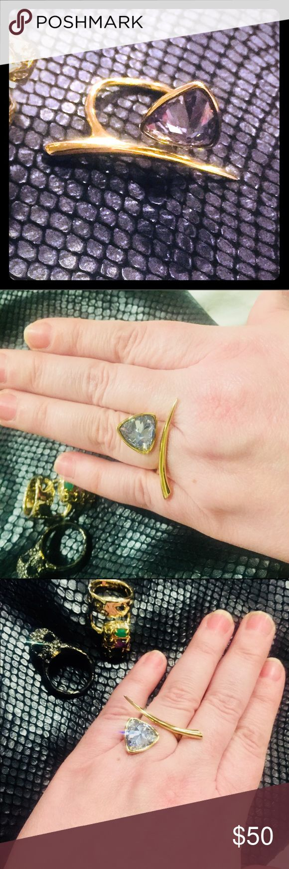 Gold plated crystal ring. New. Alexis Bittar adjustable size 6-9 ring new. My last one for sale at this time. Very flashy yet minimalistic in style. Alexis Bittar Jewelry Rings
