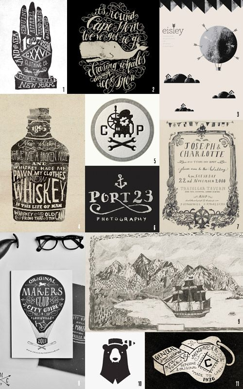 black and white typography and hand-lettering.    1, 2, 4, 8, 11. John Contino / 3. Aaron Eiland / 5. Mikey Burton / 6. Brian Hurst / 7. Liam Stevens via Once Wed / 9. Liam Stevens / 10. Blake Suarez
