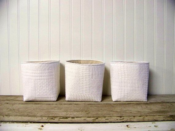 vintage white woven blanket basket - storage - organization - home decor - gift basket on Etsy, $14.99