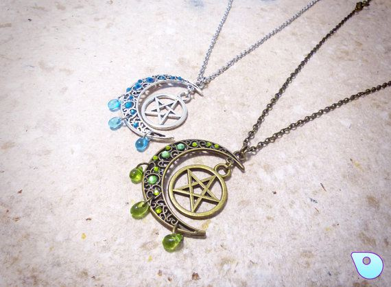 Pentacle moon Necklace Moon Necklace Wiccan by CervelleDoiseau