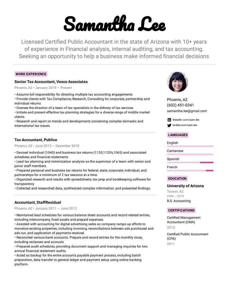 Tax Accountant Resume Example in 2020 Accountant resume