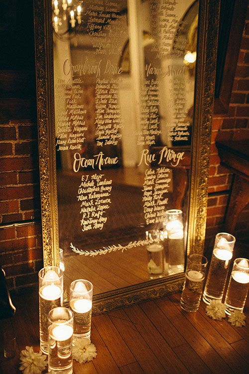 Intimate, Romantic Los Angeles Wedding, Mirror Seating Chart | Brides.com