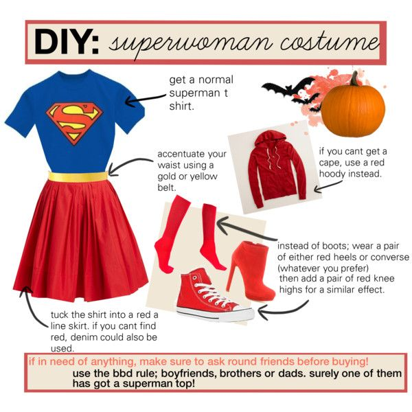 diy supergirl/superwoman costume. by bethhy on Polyvore featuring J.Crew, Sonia by Sonia Rykiel, American Apparel, Converse, Alexander McQueen, ASOS and DC Shoes
