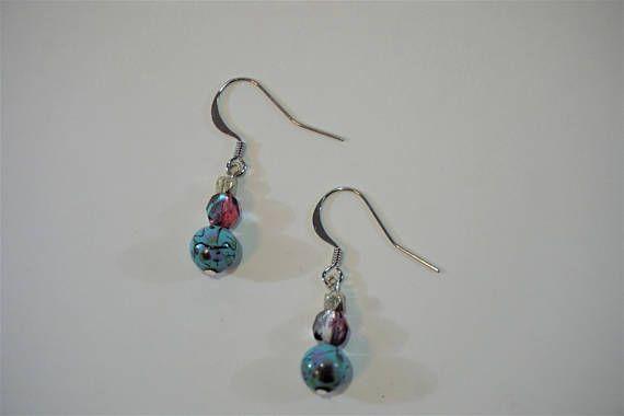 Blue and pink bubblegum earrings, jewelry, handmade, silver https://www.etsy.com/ca/listing/484100363/bubblegum-earrings