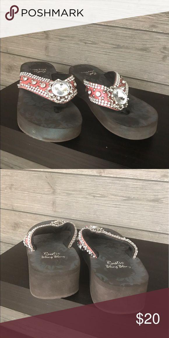 Rustic Bling Bling Flip Flops Cute flip flops in good condition:) Rustic Bling Bling Shoes Sandals