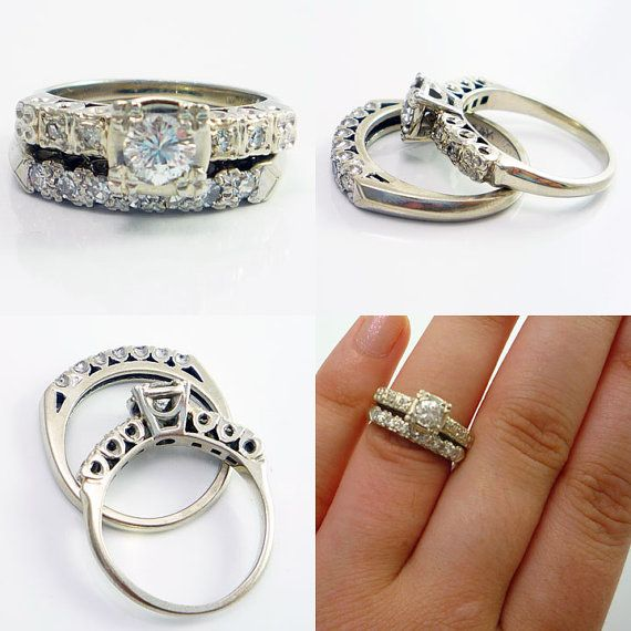 awesome vintage engagement ring and wedding band set - Vintage Wedding Ring Set