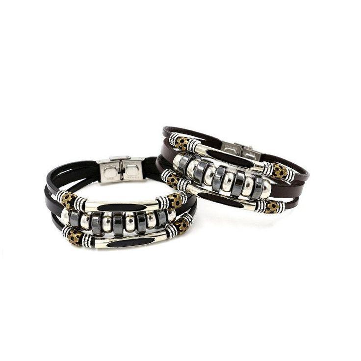 Cute Punk Unisex Bracelet Leather Beads Health Bracelet for Her Him - NewChic