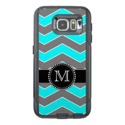 Cyan Blue Grey Black Chevron Monogrammed OtterBox Samsung Galaxy S6 Case - monogram gifts unique custom diy personalize