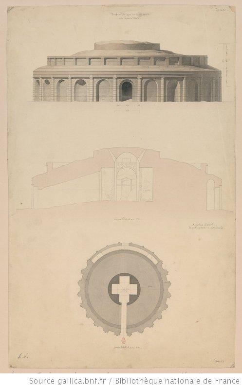[Voyage en Italie : 1824-1830]. , Tombeau antique sur la Voie appia entre Capoue et Caserte : [élévation, coupe, plan] : [dessin] / h. L. [Henri Labrouste] - 1