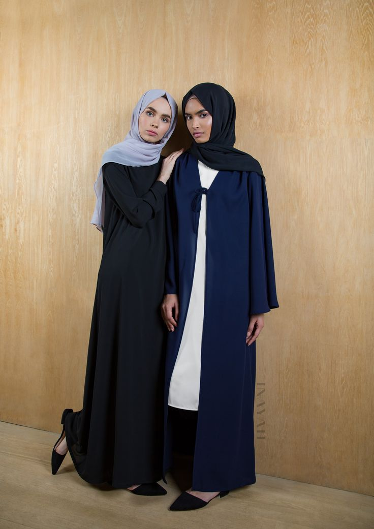INAYAH | Casual wear at its finest: Black Scoop Neck #Maxi + Pair with our Lilac Grey Soft Crepe #Hijab - Navy #Kimono with Centre Ties + White Crepe #Midi #Dress + Black Rayon #Hijab www.inayah.co