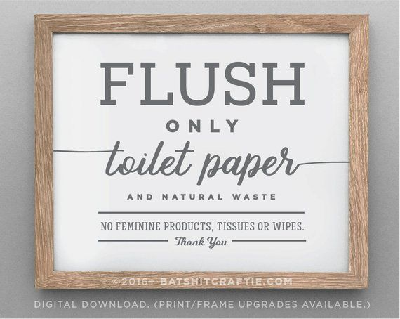 Sensitive Plumbing Sign Printable Download Bathroom Septic System Flush Only Toilet Paper No Tampons Decor Cute Sanitary Product Feminine Bathroom Signs Septic Sign Septic System