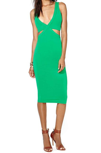 abaday Cut-out V-neck Slim Sexy Green Dress - Fashion Clothing, Latest Street Fashion At Abaday.com