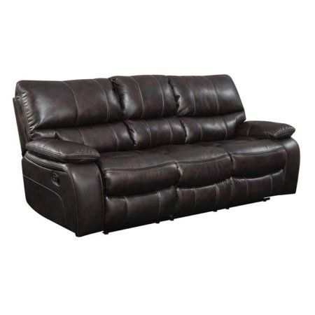 Bowery Hill Faux Leather Reclining Sofa In Chocolate #recliningsofa