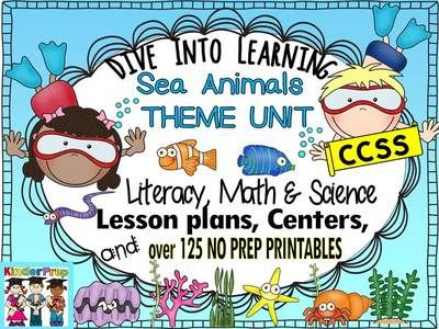 Under the Sea- Sea Life Theme Pack- Lesson Plans, Literacy, Math, Science, Centers and more! from KinderPrep on TeachersNotebook.com -  (400 pages)  - This Under the sea-Sea Life unit offers a complete teaching unit which includes 15 step by step lesson plans covering literacy, math, science + Literacy-Math centers and  over 125 no prep printables.