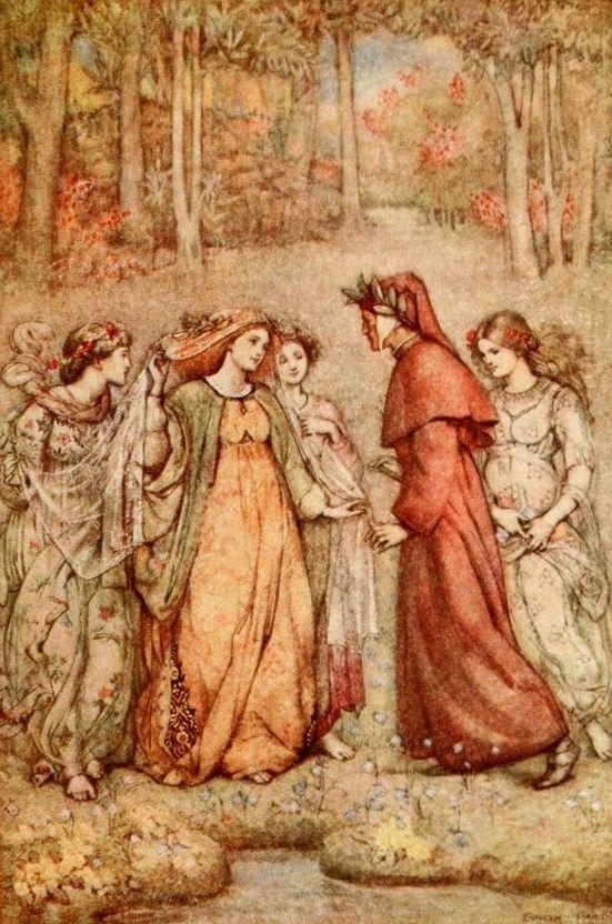 Paradiso, Dante en Beatrice, Evelyn Paul (1883 - 1963) was als kunstenaar het meest bekend om haar boekillustraties. Haar werk toont een scala aan invloeden zoals gotiek en art nouveau.