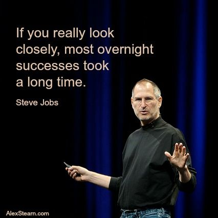 If you really look closely most overnight successes took a long time. Steve Jobs #entrepreneur #startups
