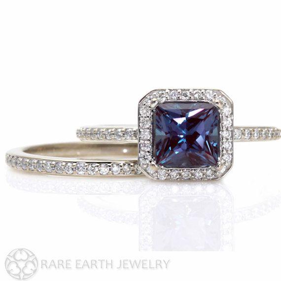 princess alexandrite engagement ring matching band diamond halo wedding set or palladium - Alexandrite Wedding Ring