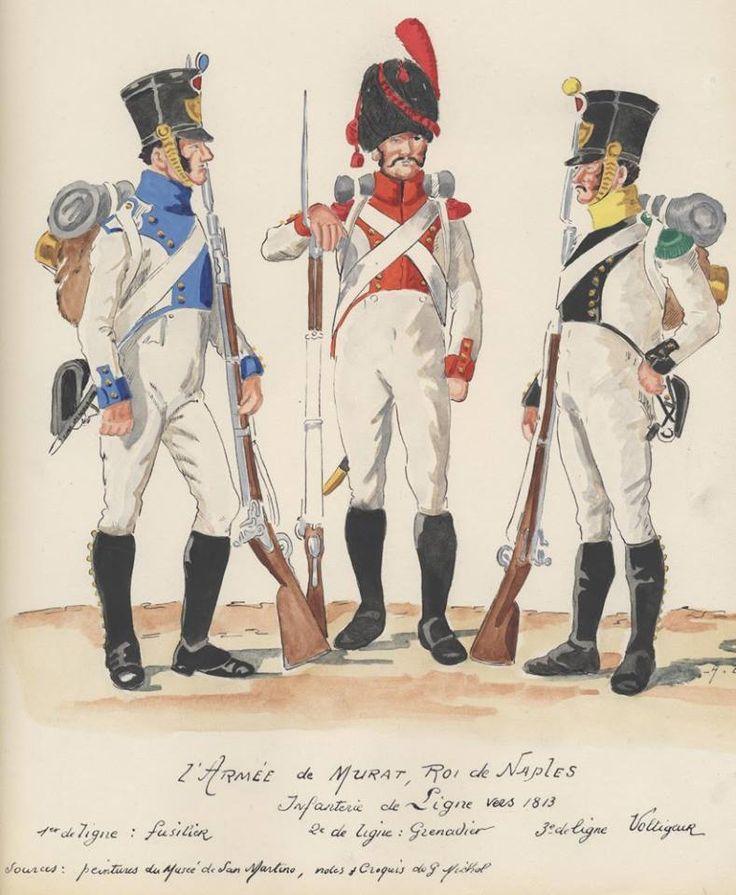 Fuciliere del 1 rgt., granatiere del 2 rgt. e volteggiatore del 3 rgt. fanteria di linea del regno di Napoli