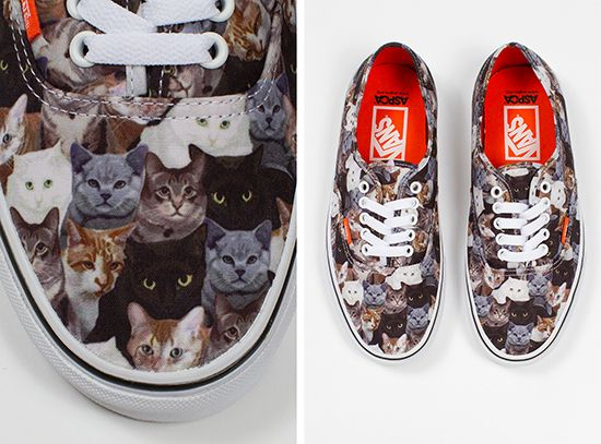 Vans with cats! $40. Portions of the proceeds from this shoe go to the ASPCA. (There are Vans with dogs on them as well.) Got me my pair! Yay!