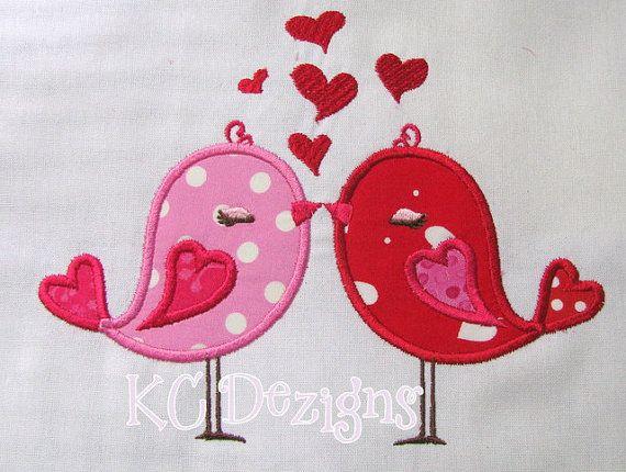 Valentine love birds with hearts machine applique