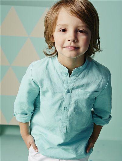 Camisa con cuello mao de lino y algodón niño AZUL OSCURO LISO+BLANCO CLARO LISO+VERDE MEDIO LISO+VIOLETA MEDIO LISO