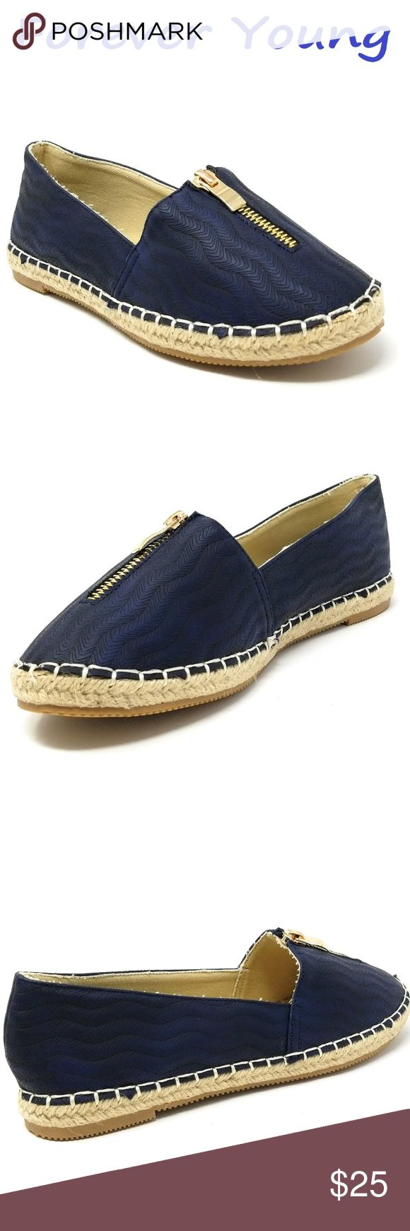 """Women Espadrille Zipper Flats, E-2607, Navy Brand new Forever Young super popular stitched espadrille flats with a decorative zipper along the top. Extra soft insoles. Textured rubber outer sole for traction. 100% man made.  Measurements: sizes 6 through 8 are true to size. Sizes 8.5 - 11 run small. Standard 3 inch width. Size 8 measures 9.5 inches, sz 8.5 = 9 3/4"""", sz 9 = 10"""", sz 10 = 10.5"""", size 11 fits a true size 9.5 wearer. A true statement in ladies shoes fashion! Forever Young Shoes…"""