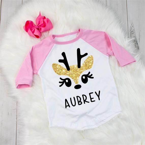 Custom Name Custom Glitter Reindeer Kids Shirt