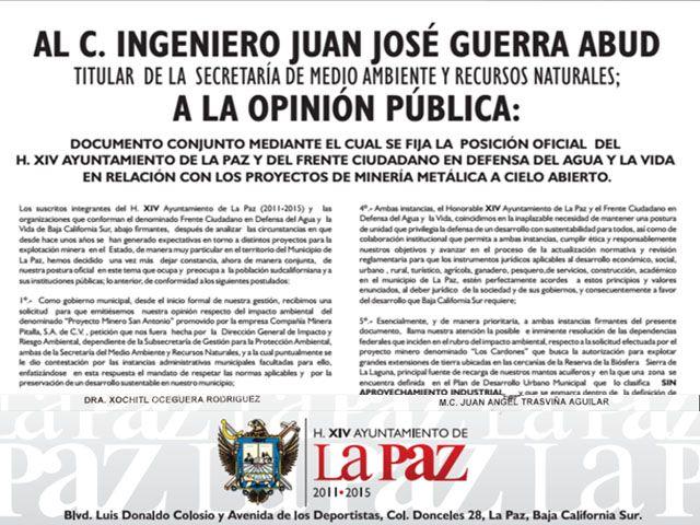 Manifiesto oficial del Ayuntamiento de La Paz contra la Minería a Cielo abierto / http://noticabos.org/2014/06/11/manifiesto-lapaz/