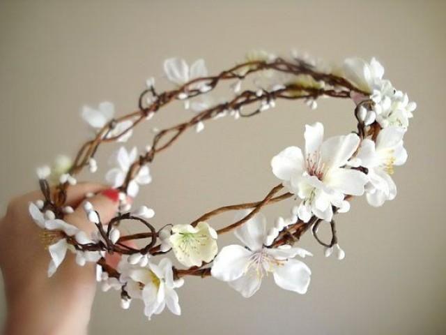 Rustic Chic Wedding Hair Wreath, Flower Girl - SAKURA BRANCH - White Cherry Blossom Head Piece