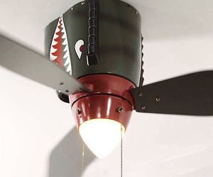 World War II Airplane Ceiling Fan - Cool down while experiencing all the action of a dogfight every time you start the engine of the World War II airplane ceiling fan. Perfect for all history and war buffs, the fan's creative design, will have you on pins and needles each time you decide to cool off.