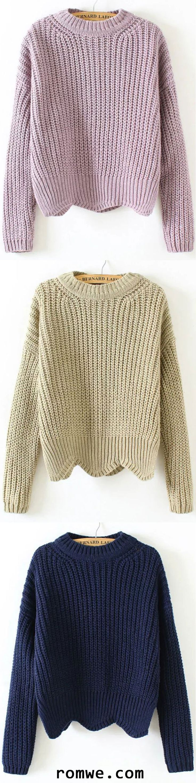 Crew Neck Scalloped Hem Sweater