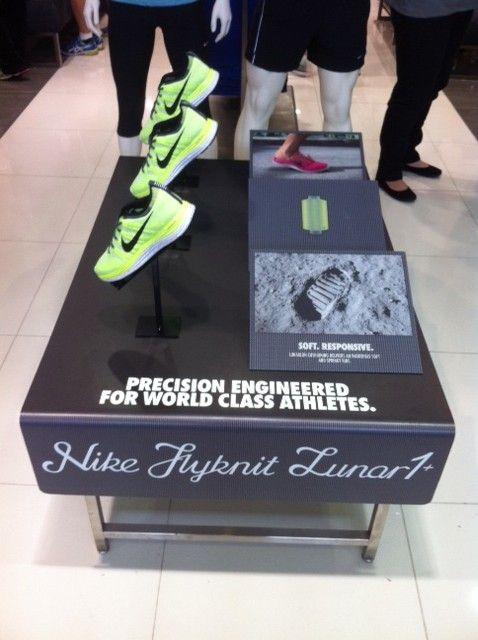 Nike Flyknit Lunar1 retail display table shoe display.
