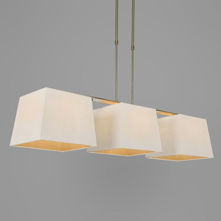 Pendant Lamp Combi Delux 3 with Square Shades 30cm White