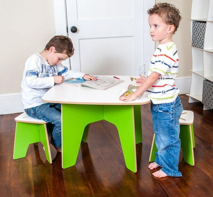 Green Modern Toddler Table and Stools
