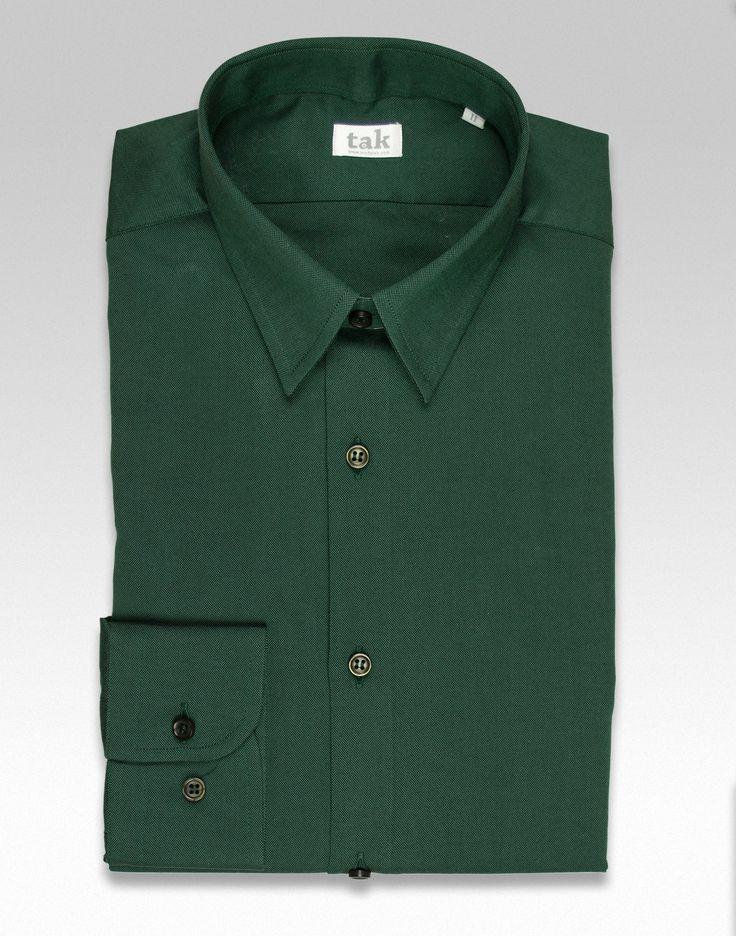 Camisa de algodón color verde botella para hombre