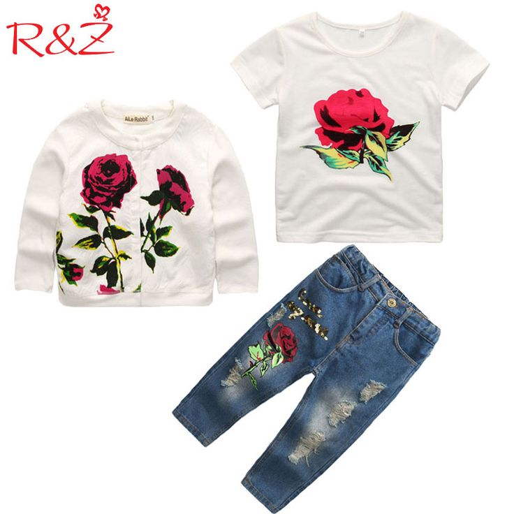 Cheap girl clothes set, Buy Quality children clothing set directly from China clothing sets Suppliers: Girls Clothes  Set 2017 Spring/Autumn New Brand Fashion Rose  3pcs 2-9Y Kids long sleeves flower Children Clothing set