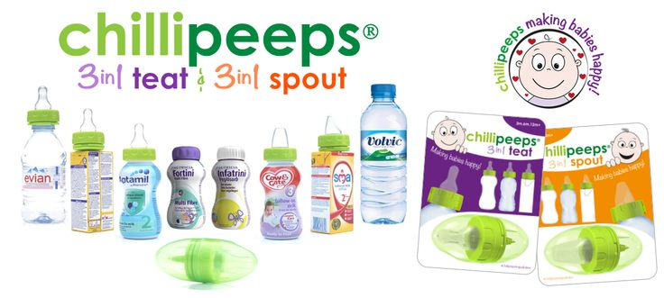 Chillipeeps NEW 3in1 TEAT and Chillipeeps NEW 3in1 SPOUT, fits all formula cartons (including SMA, Hipp), Aptamil & Cow&Gate mini 200ml formula bottles and Evian and Volvic water bottles. Genius
