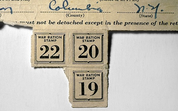 American ration stamps issued during World War II to a residents in 1943.