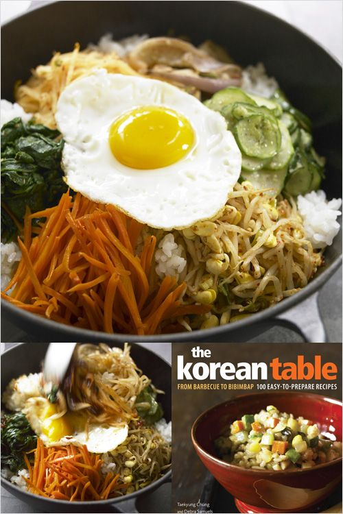 Bibimbap Recipe: The tasty toppings are arranged on the rice like the spokes of a colorful bicycle wheel, topped with a sunny-side up egg and a dollop of spicy red pepper paste (gochujang).  Mix it all together just before you eat—but not before everyone admires you culinary art project! #korean #egg #vegetable
