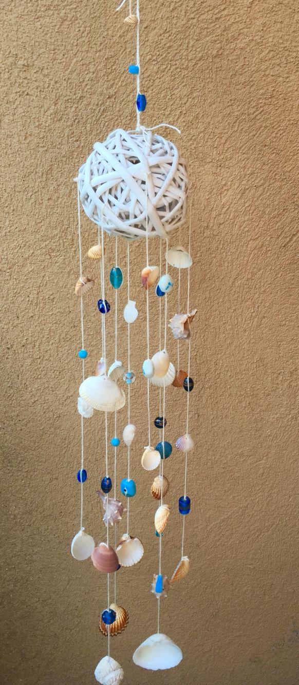 Scacciasogni con conchiglie e perline in vetro