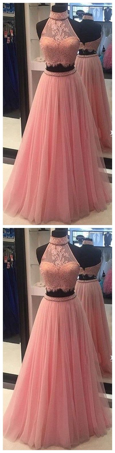 High Neck Lace Tulle Prom Dress evening dresses
