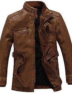 Vintage / Egyszerű Őszi / Téli-Férfi Kabát,Egyszínű Állógallér Hosszú ujj