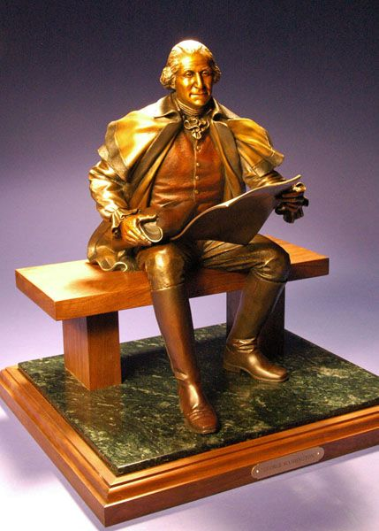 "George Washington - Bronze - Edition of 100 - 22"" x 16"" x 14"". Also available in Bust sizes."