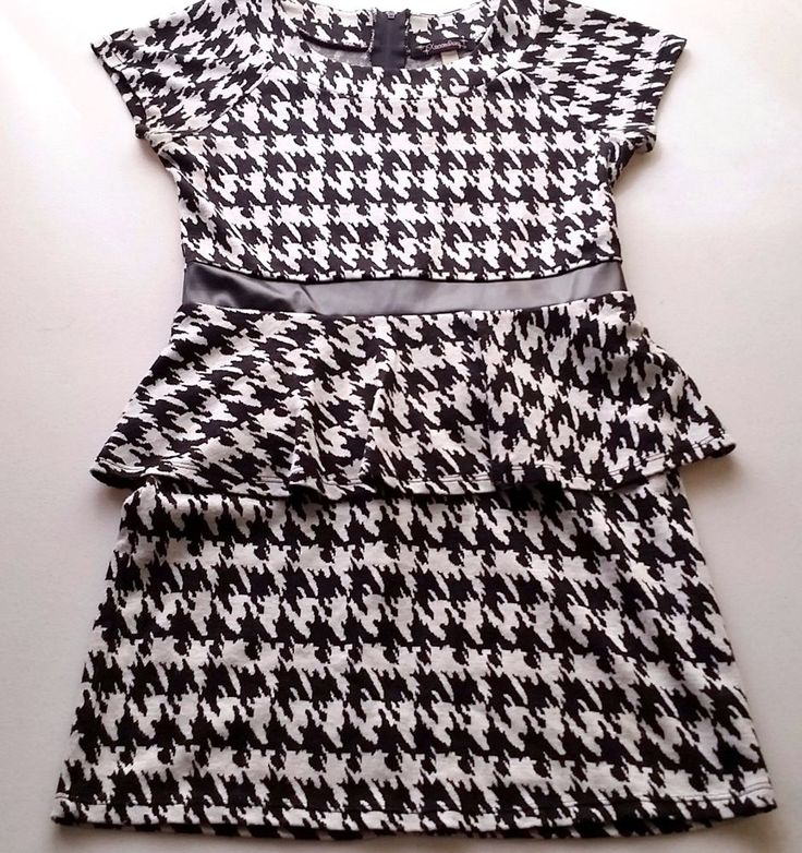 another great find at #ccsboutique www.everythingforchildren.net Girls XTRAORDINARY hounds tooth dress 10 black white 40s 50s vintage Bama game Alabama football wiggle ruffle retro