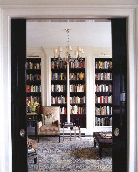 there's something about books...http://niagaranovice.blogspot.com/2012/01/love-nested-tables.html: Black Interiors, Home Libraries, Black And White Bookshelves, Books Shelves, Thomas Obrien, Black Shelves, Black Pockets, Black Bookcase, Pockets Doors