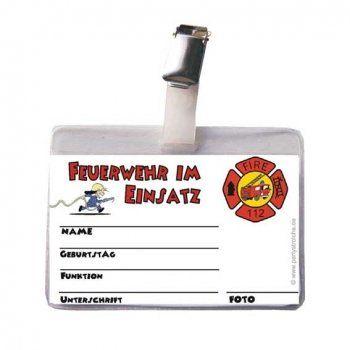 Feuerwehr Ausweis für Kindergeburtstag Feuerwehrpartys.Cooler Feuerwehr Ausweis in Klarsichthülle mit Befestigungsclip. Ein tolles Partymitgebsel für kleine Feuerwehrmänner.• Sie erhalten 1 Kindergeburtstag Feuerwehr Ausweis in Klarsichthülle ...